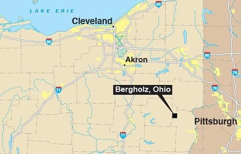 Map Showing Bergholz, Ohio