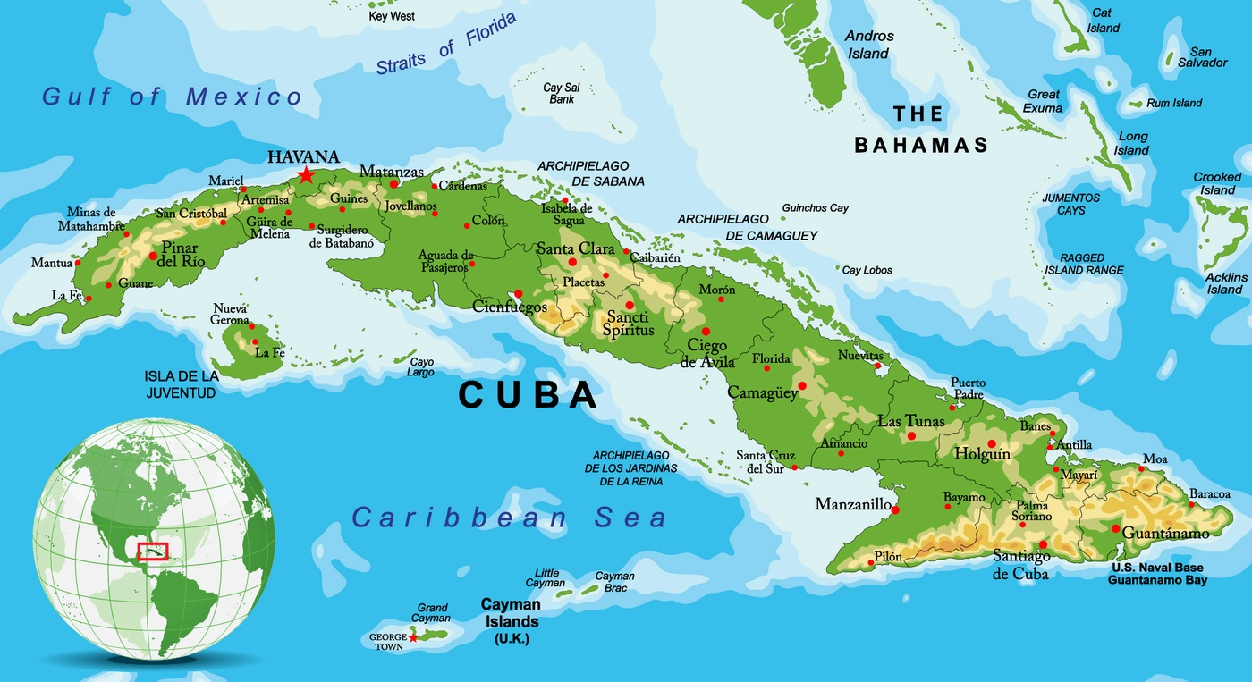 Stock image depicting map of Cuba with inset showing location on globe.