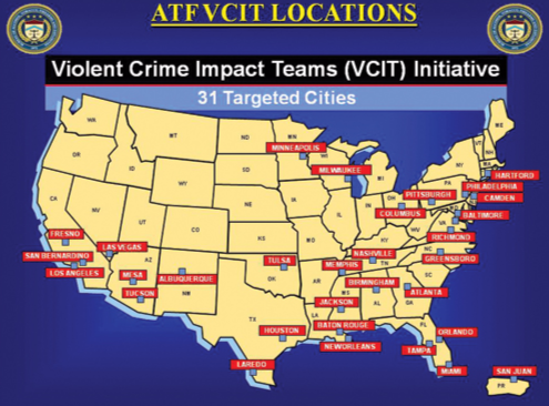 ATF Violent Crime Impact Teams (VCIT) and the 31 cities they target