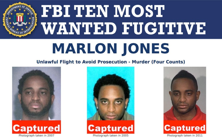 Screenshot of top portion of FBI Ten Most Wanted Fugitive Marlon Jones' poster with Captured banner across images.