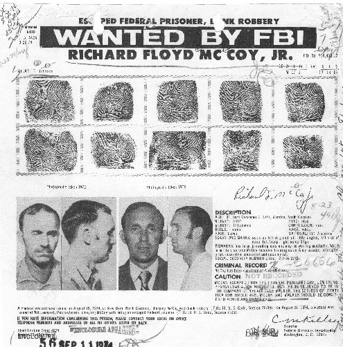 The identification order for McCoy, who hijacked an United Airlines flight and parachuted from the plane over Utah with ransom money in 1972.