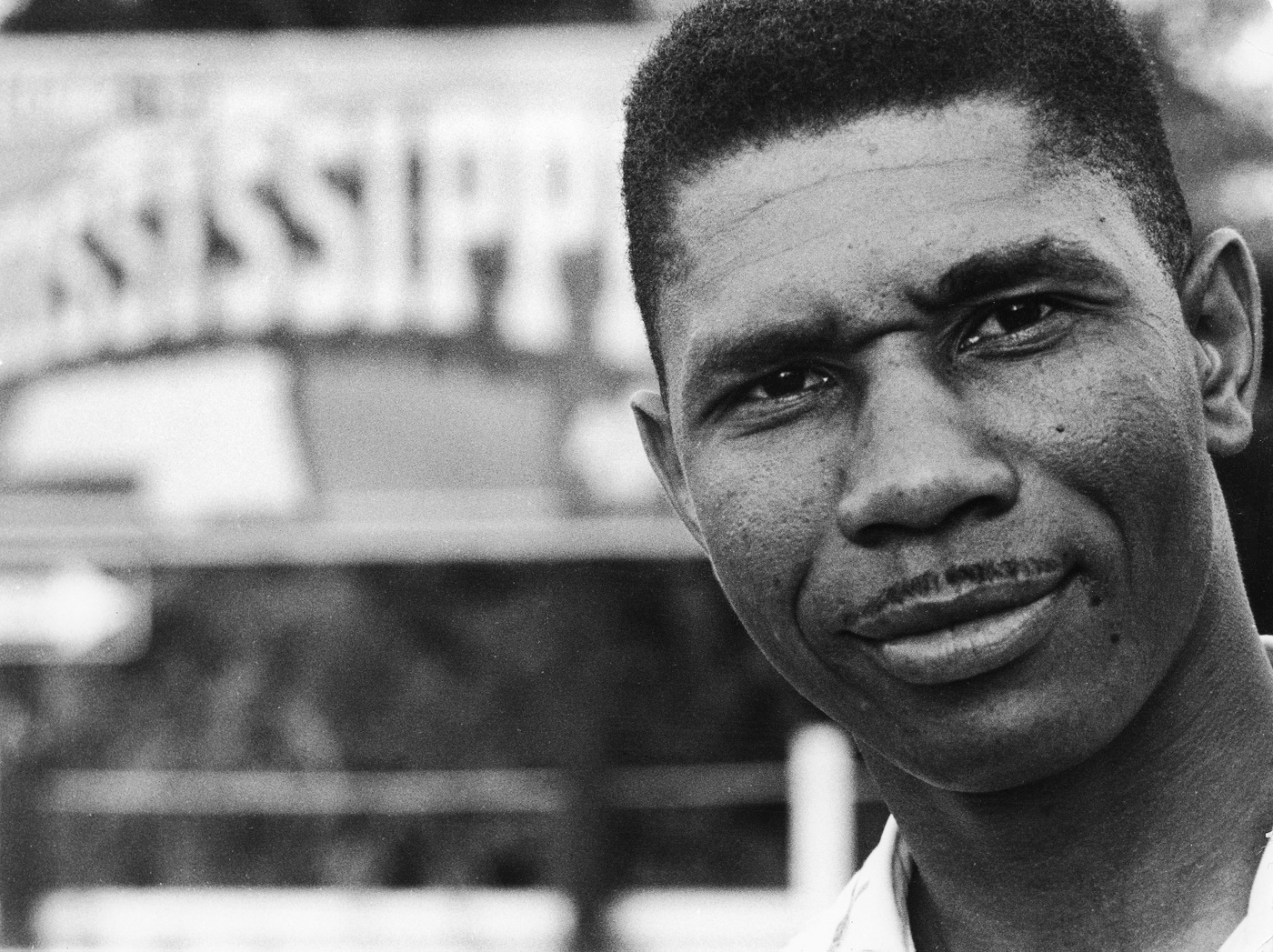 Medgar Evers stands near a sign of the state of Mississippi in 1958. (AP Photo/Francis H. Mitchell - Ebony Collection, File)