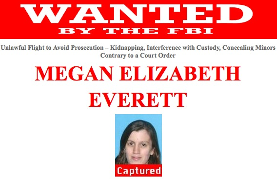 Megan Elizabeth Everett, wanted for allegedly kidnapping her then-2-year-old daughter in 2014, was taken into custody on August 3, 2015.