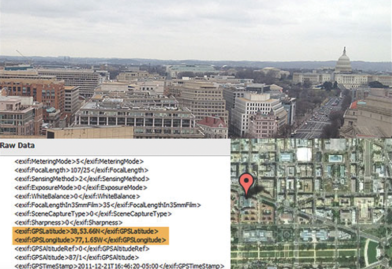 Geocoordinates are embedded in the above image, which was transmitted via a smartphone. The data make it easy to plot the sender's location on a map.
