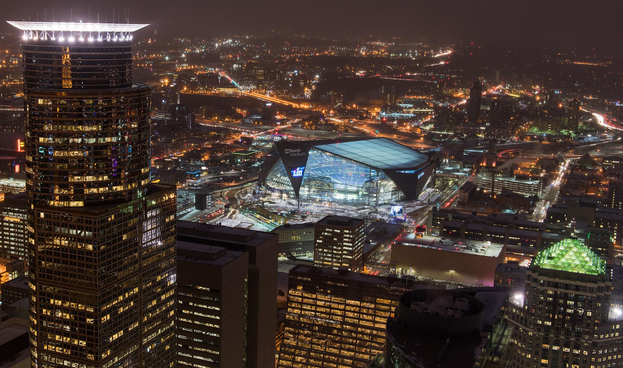 Night View of U.S. Bank Stadium in Minneapolis
