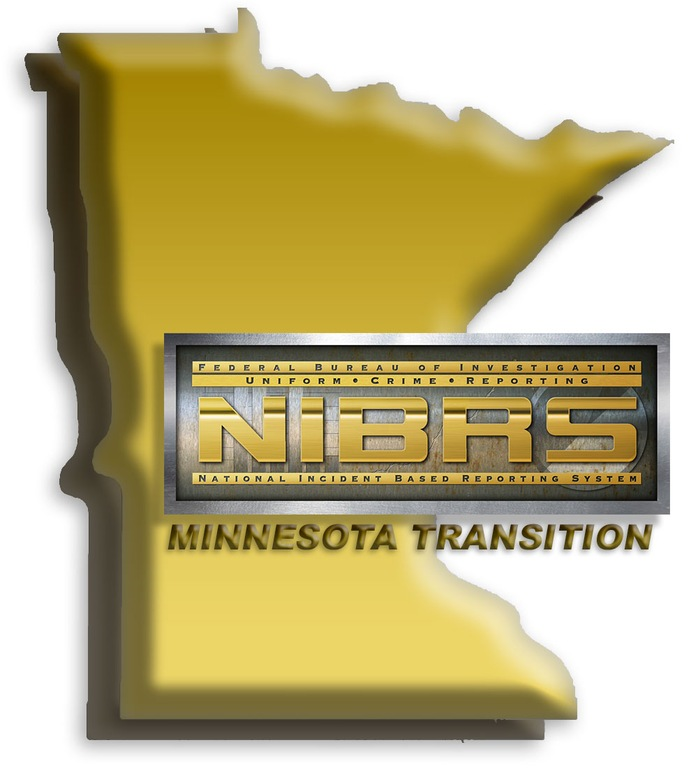 Graphic depicting outline of state of Minnesota with National Incident-Based Reporting System (NIBRS) logo and words Minnesota Transition. (From CJIS Link article.)
