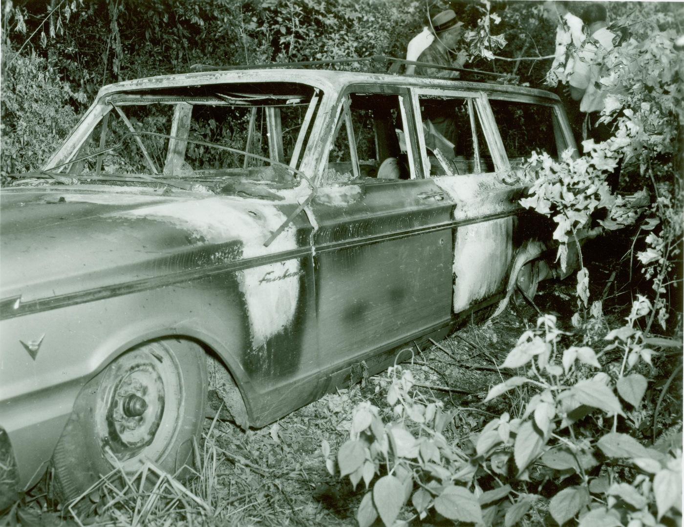The Ford station wagon driven by civil rights activists Michael Schwerner, James Chaney, and Andrew Goodman that was discovered on June 23, 1964 following their disappearance. Its charred condition resulted in agents naming the case MIBURN, short for Mississippi Burning.