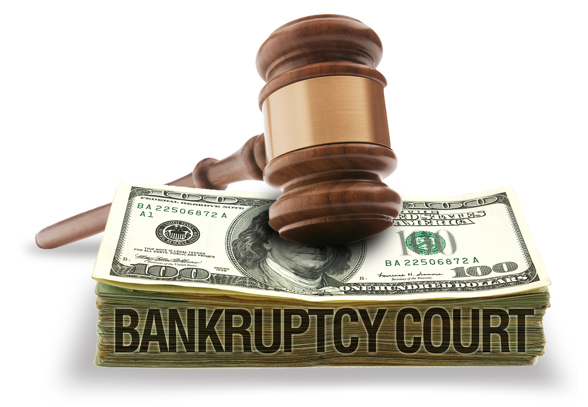 Stock image depicting a gavel resting on top of a stack of money displaying the words Bankruptcy Court.