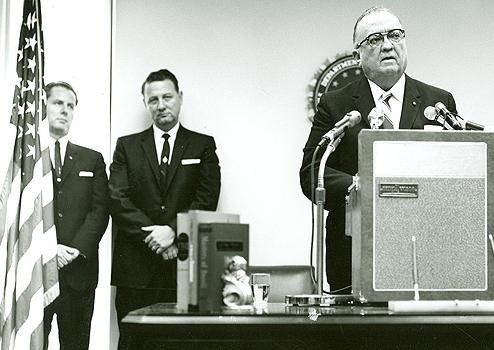 "Cartha ""Deke"" DeLoach, center, joins FBI Director J. Edgar Hoover and Roy Moore, special agent in charge of the Jackson Field Office, during a ceremony in Jackson, Mississippi on July 10, 1964."