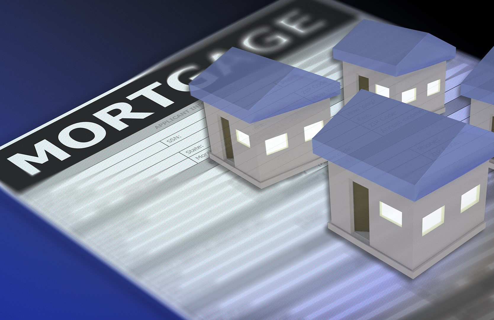 Stock graphic depicting a mortgage loan application beneath several small houses.