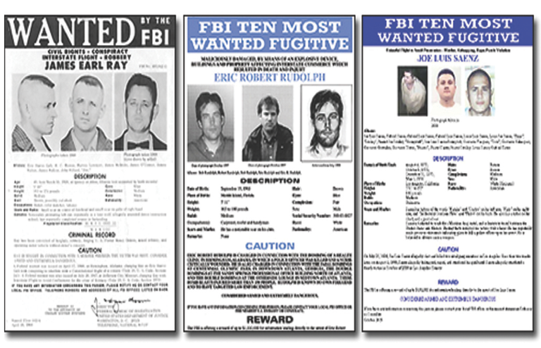 FBI posters seeking James Earl Ray (1968), Eric Rudolph (1998), and Joe Saenz (2009).