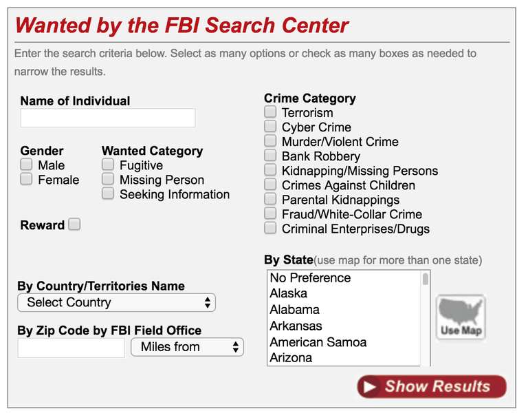 Tool on Wanted by the FBI webpage used to filter searches of fugitives and missing persons by location, crime category, and more.