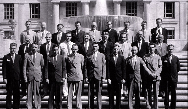 The first class of police officers at the FBI's police training school, National Academy.