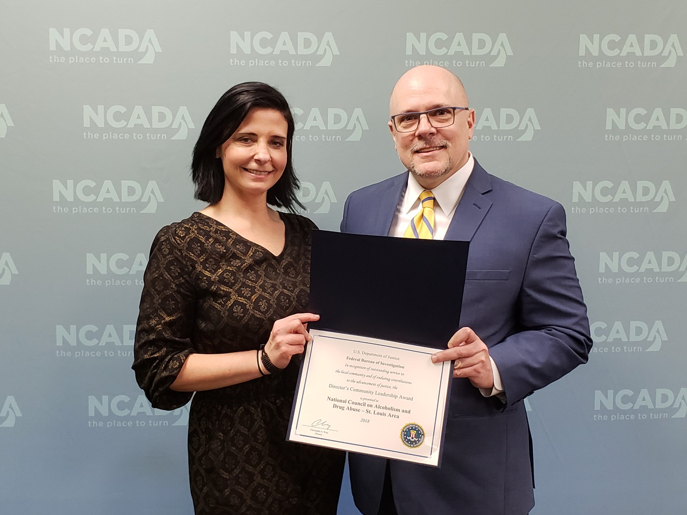 NCADA – St. Louis Executive Director Nichole Dawsey and FBI St. Louis Special Agent in Charge Richard Quinn
