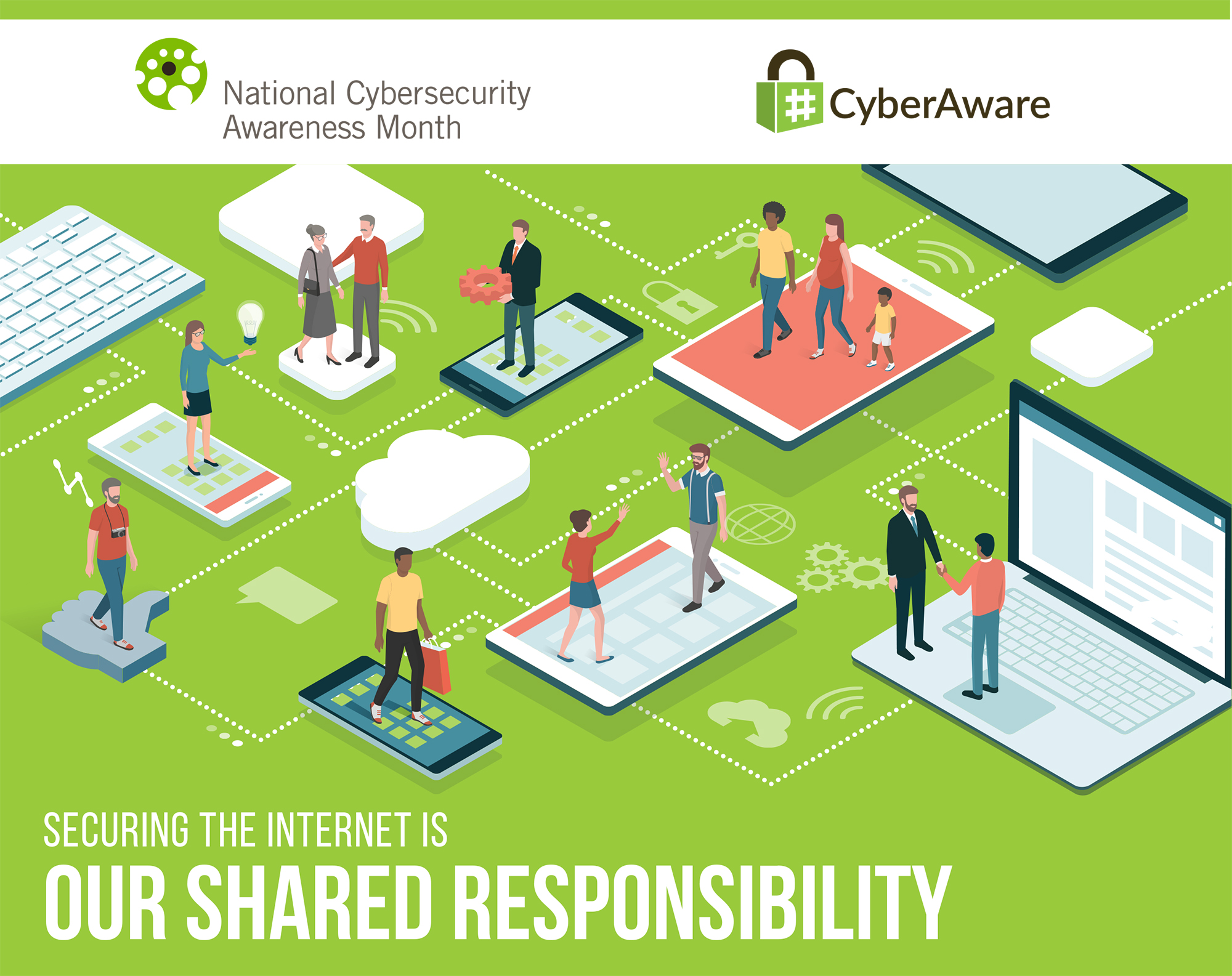 Graphic for National Cyber Security Awareness Month using art from NCSAM media package.