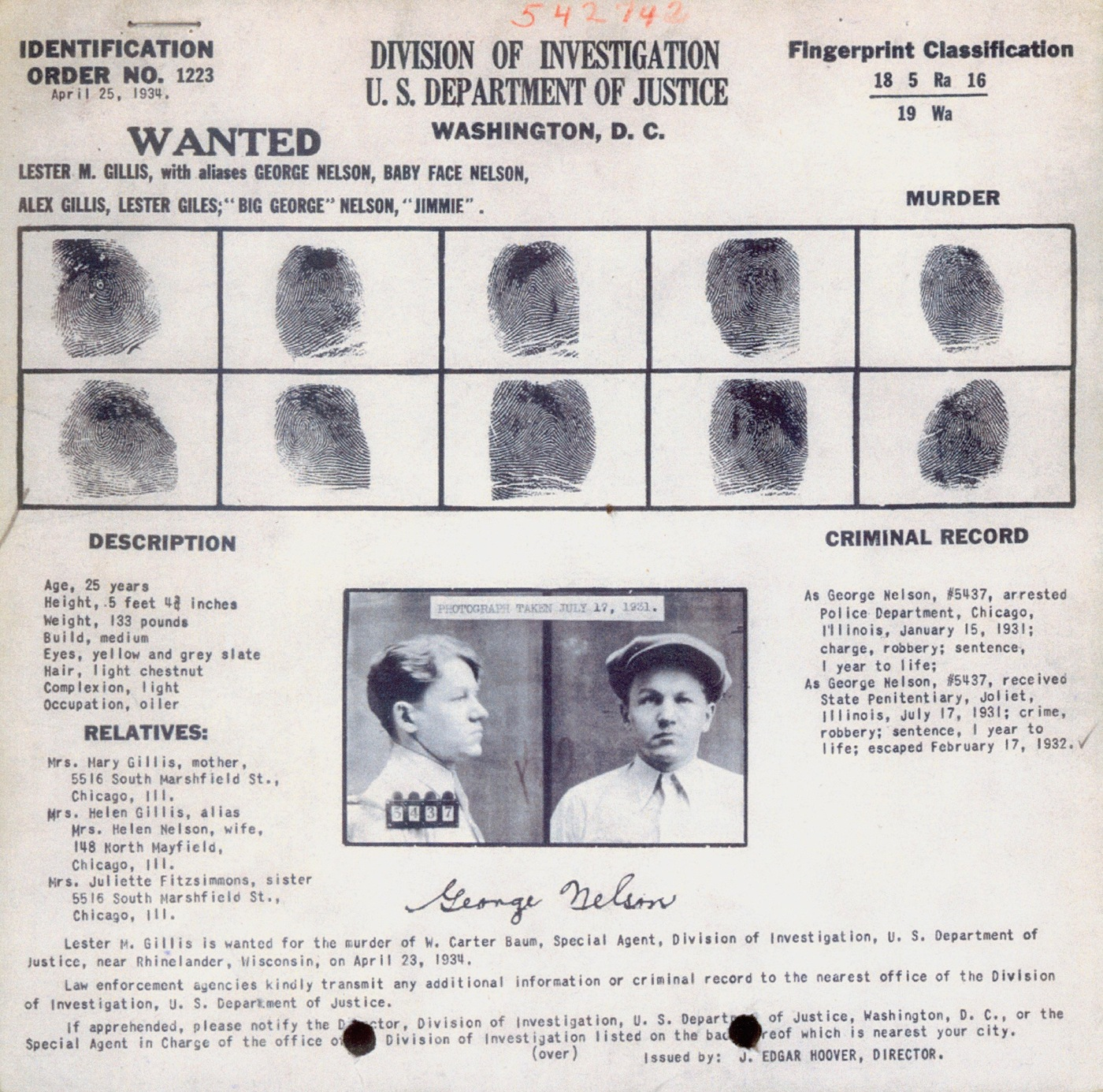 Identification Order no. 1223 of George Nelson, aka Baby Face Nelson, aka Lester Gillis, wanted for the murder of Special Agent W. Carter Baum at Little Bohemia, Wisconsin.
