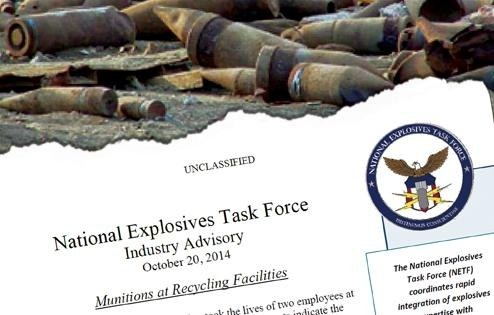 Composite image of National Explosives Task Force industry advisory bulletin and exploded munitions.