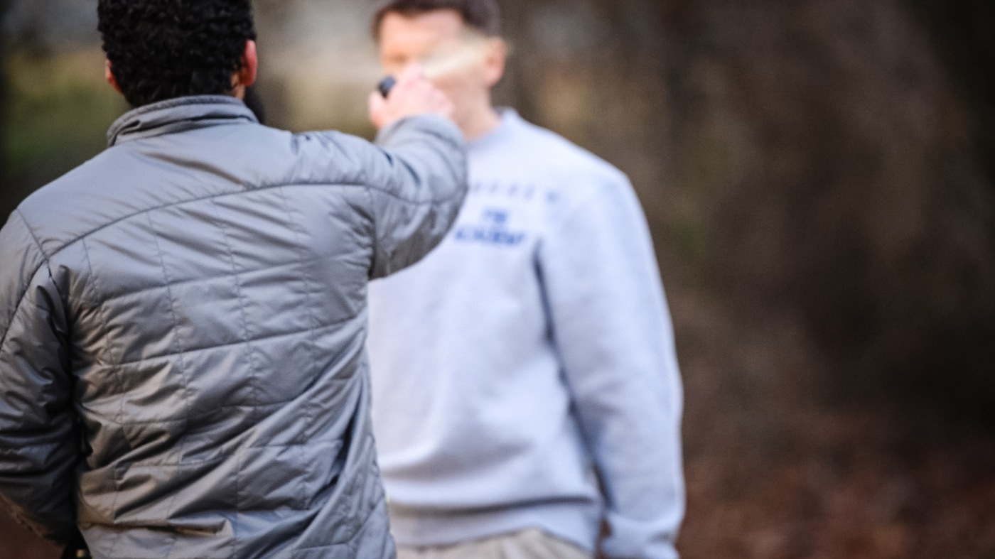 A new agent is pepper sprayed during training at the FBI Academy in Quantico, Virginia.