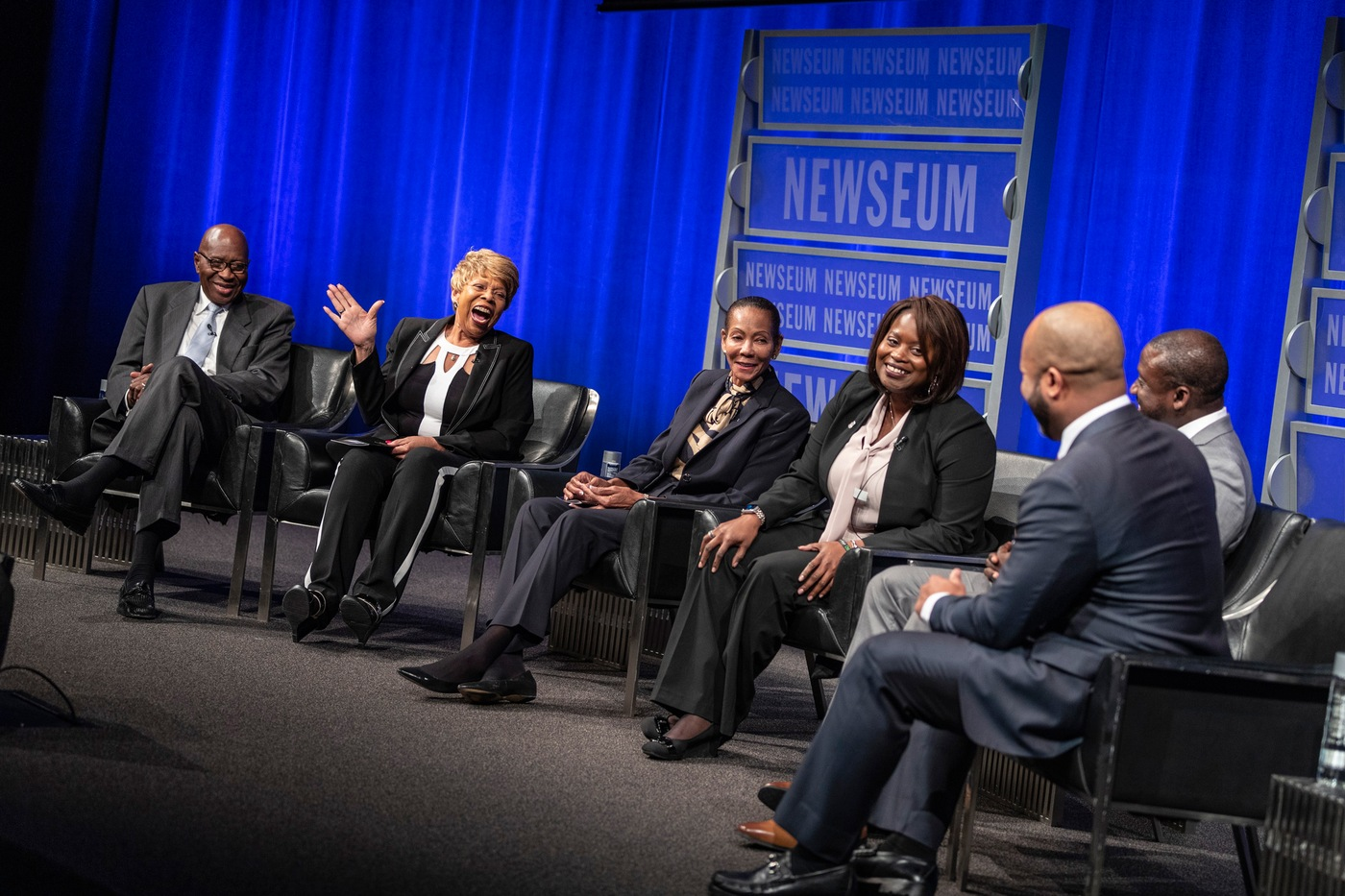 Current and retired FBI special agents participate in a panel discussion at the Newseum Friday, November 8, 2019, in Washington, D.C., celebrating the 100th anniversary of the first African-American FBI special agent.