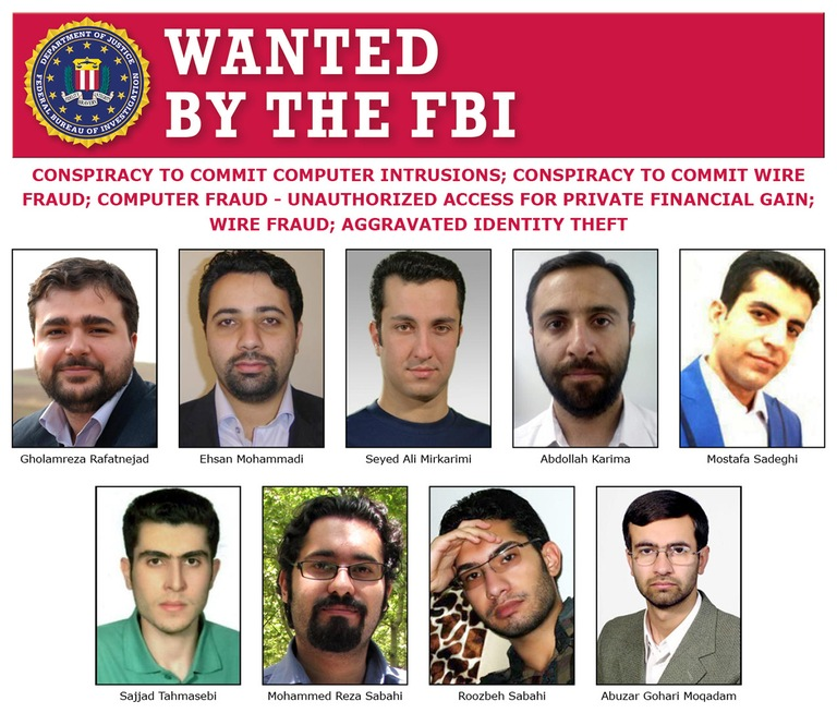 Screenshot of composite poster depicting nine Iranians indicted in connection with a state-sponsored hacking campaign.