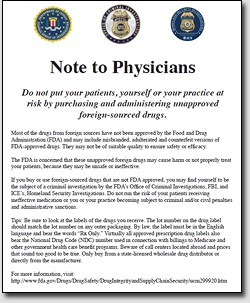 A Pennsylvania oncology practice was fined $100,000 in 2013 for using unapproved cancer drugs, and the magistrate who imposed the fine also ordered the practice to place an advertisement in two medical journals warning of the dangers of using such drugs. This is that ad.