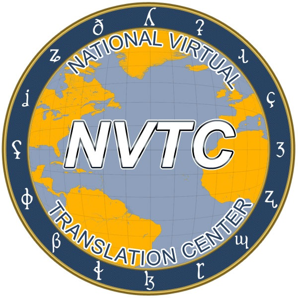 Seal of the National Virtual Translation Center (NVTC) with world map in background.