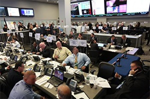Multiple law enforcement agencies participated in a tabletop exercise at NYPD Headquarters Monday, September 14, 2015, as part of security preparations for the pope's arrival.