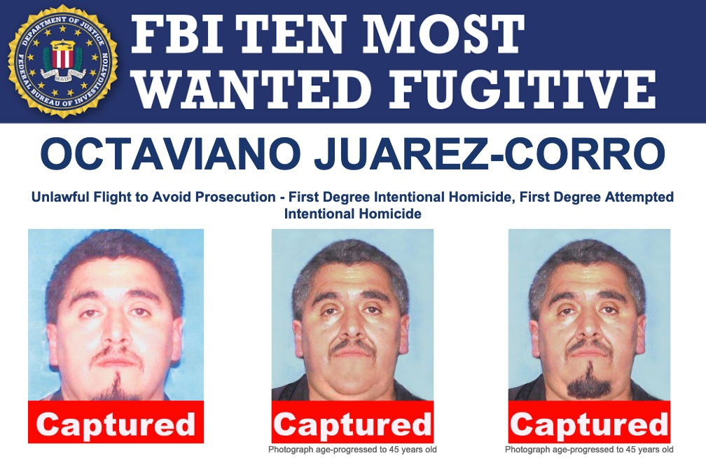 Screenshot of top portion of Ten Most Wanted Fugitive poster for Octaviano Juarez-Corro