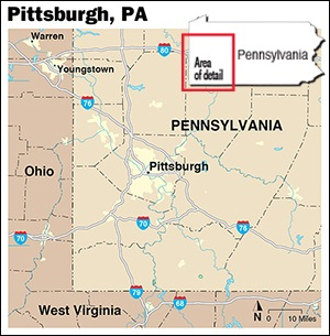 A detailed map of the area surrounding Pittsburgh.