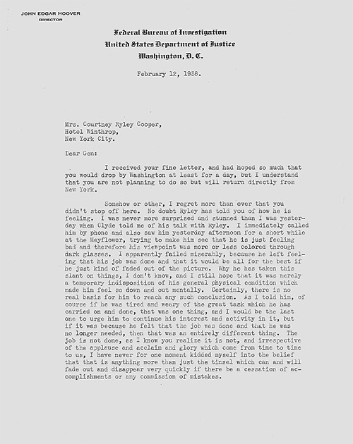 A 1938 letter from J. Edgar Hoover to Genevieve Cooper.
