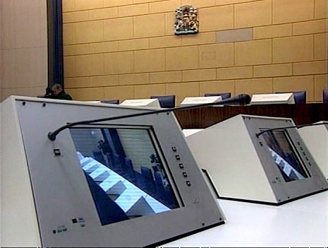 Pan Am 103 Court Monitor Screens, Netherlands (ITN/Getty Images)
