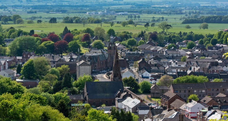 Panoramic cityscape of the town of Lockerbie, Scotland, May 2018.