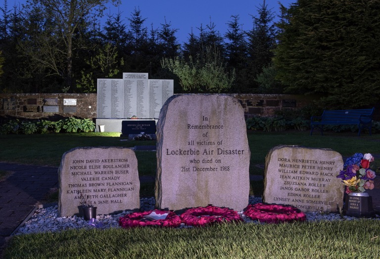 Pan Am 103, Dryfesdale Cemetery Memorial, Lockerbie (Night)