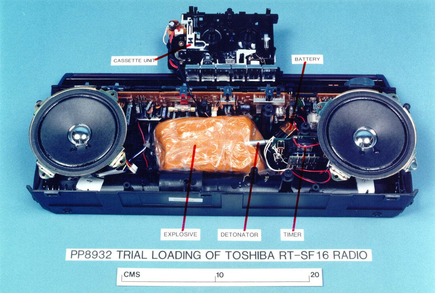 Replica of the plastic explosives hidden inside a cassette player that caused Pan Am Flight 103 to be blown out of the sky on December 21, 1988 over Lockerbie, Scotland. (Syracuse University photo)