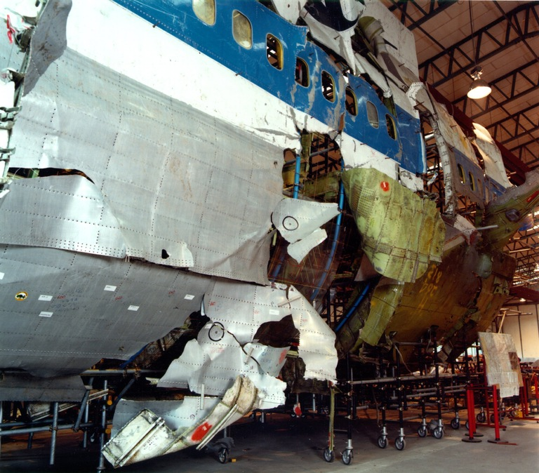 A reconstruction of the fuselage of Pan Am Flight 103 shows the hole where the bomb exploded on December 21, 1988 over Lockerbie, Scotland.