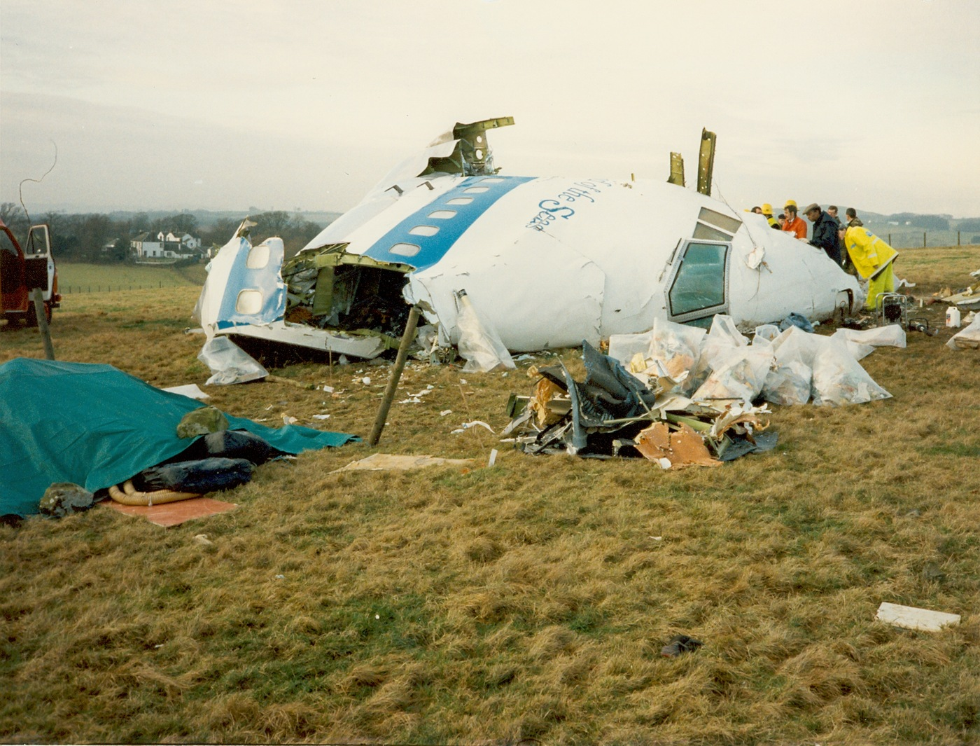 Part of fuselage recovered from the terrorist bombing on December 21, 1988 of Pan Am Flight 103 as it was en route from London to New York carrying 259 people. All onboard were killed as well as 11 people on thew ground in the town of Lockerbie, Scotland.