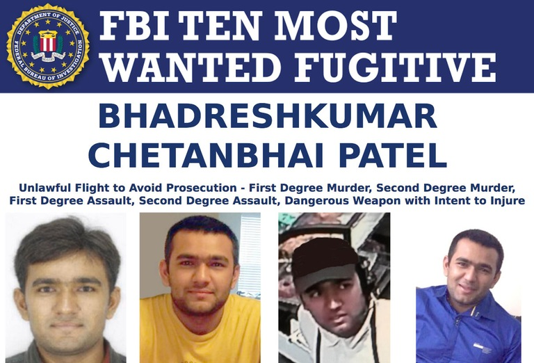 Screenshot of top part of Bhadreshkumar Chetanbhai Patel's FBI Ten Most Wanted Fugitive poster.