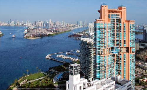 The view from one of drug kingpin Alvaro Lopez Tardón's Miami condominium units, which overlooks another unit he owned in a nearby high-rise.