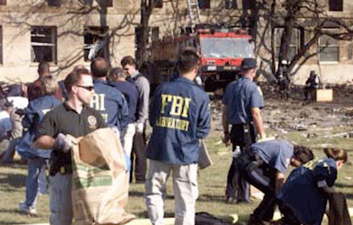 Recovery and evidence collection at the Pentagon in Northern Virginia following the 9/11 terrorist attacks.