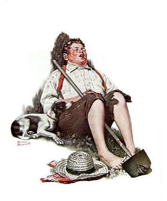 Philadelphia Norman Rockwell painting Taking a Break, Lazybones, and Boy Asleep with Hoe recovered