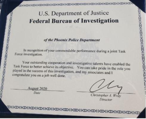 Phoenix Valley Task Force Director's Certificate