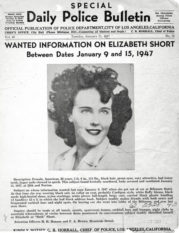 Police Bulletin on Elizabeth Short