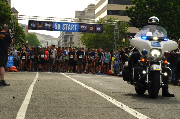 Runners prepare to start the National Police Week 5K on Saturday, May 12, 2018  in Washington, D.C. The annual event raises money for the Officer Down Memorial Page and the Concerns of Police Survivors (COPS).