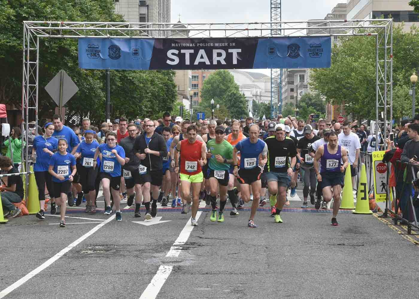 Runners begin the National Police Week 5K on May 11, 2019, in Washington, D.C.