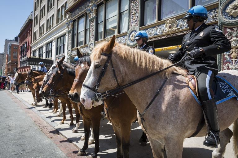 Mounted police in Washington, D.C. on May 7, 2018 during the Blue Mass observation, an annual gathering to remember the contributions of those who have served in law enforcement and public safety agencies and to ask for continued protection for them in the future.