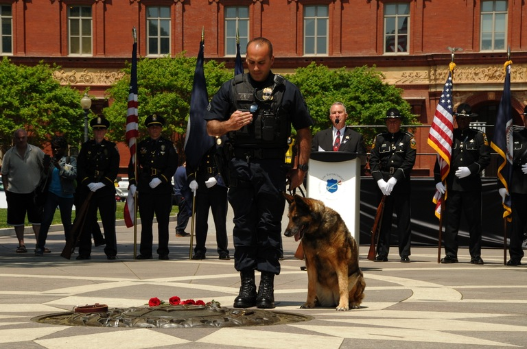 Prince George's County (Maryland) Police Sgt. Nick Cicale, with his dog, Zoey, salutes fallen canines during the first annual Police K-9 Memorial Service, held May 11, 2018 at the National Law Enforcement Officers Memorial in Washington, D.C.