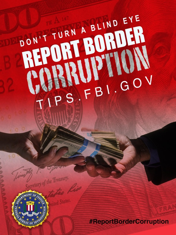 Red Report Border Corruption poster showing money exchanging hands.