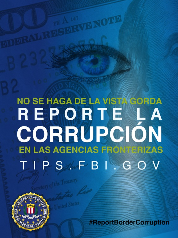 Report Border Corruption poster showing cash exchange, in Spanish.