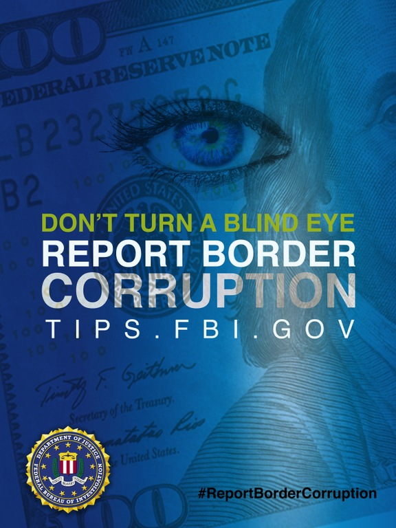 Blue Report Border Corruption poster showing an eye over currency.