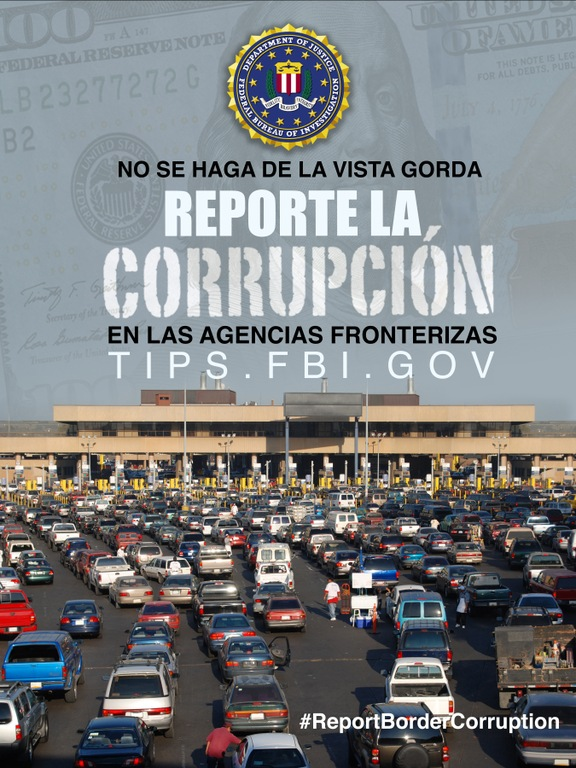 Report Border Corruption poster showing border crossing, in Spanish.